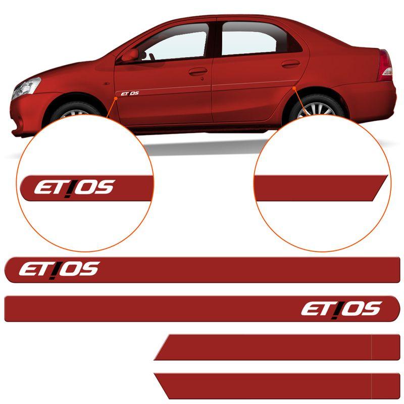 Jogo Friso Lateral Etios 12 a 14 Sedan Vermelho Pop Tipo Borrachão