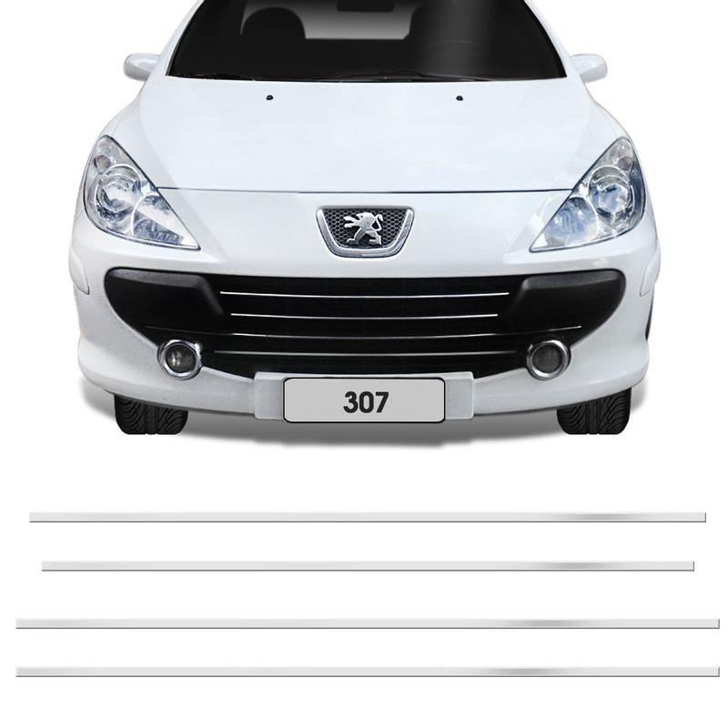 Kit Cromado Peugeot 307 07 08 09 10 Frisos Finos Aplique Grade Dianteira