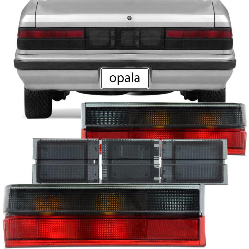 Par Lanterna Traseira e Aplique de Extensão Opala Comodoro 88 89 90 91 92 Fumê