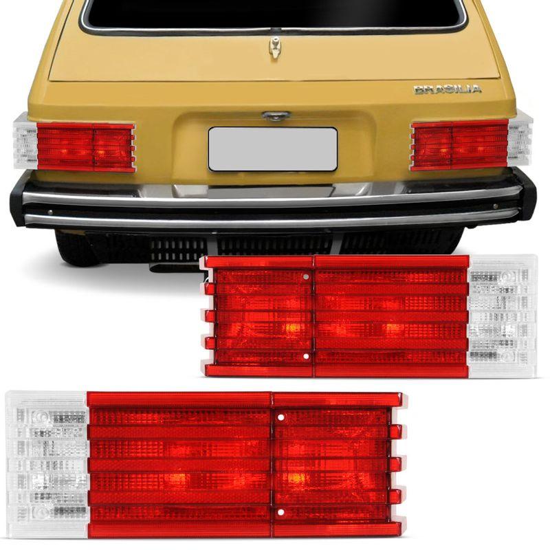 Lanterna Traseira Brasilia Variant II 78 79 80 81 82 Bicolor Vermelha - Unitário