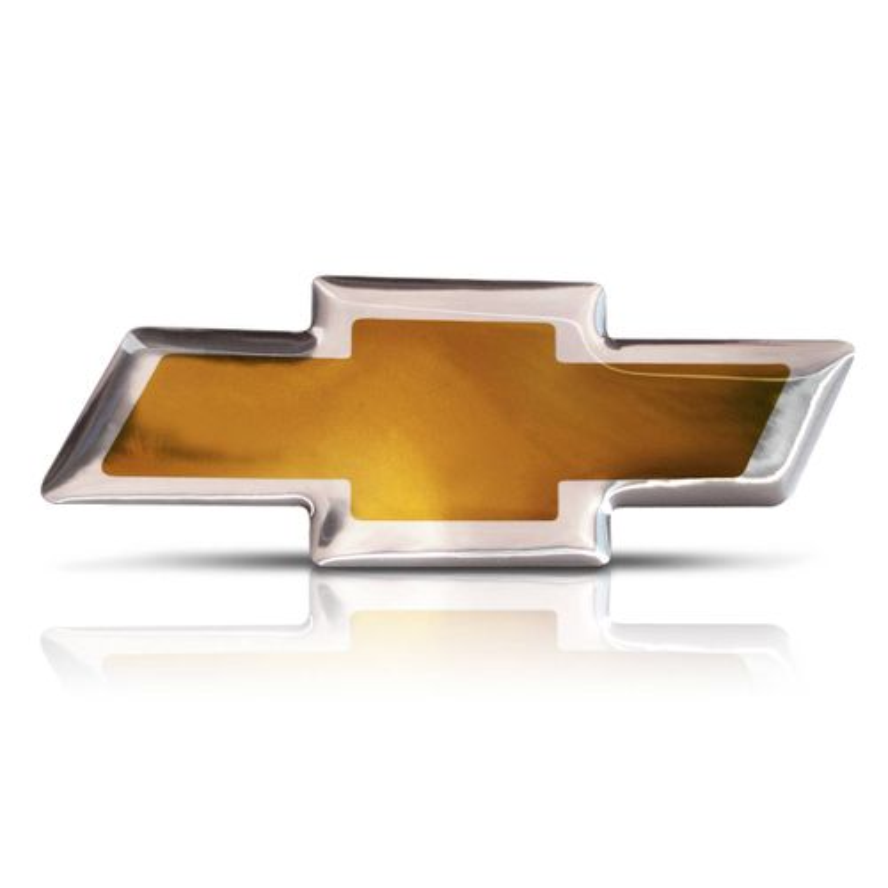 Emblema Gm Logo Chevrolet Gravata Dourada Resinado Tuning