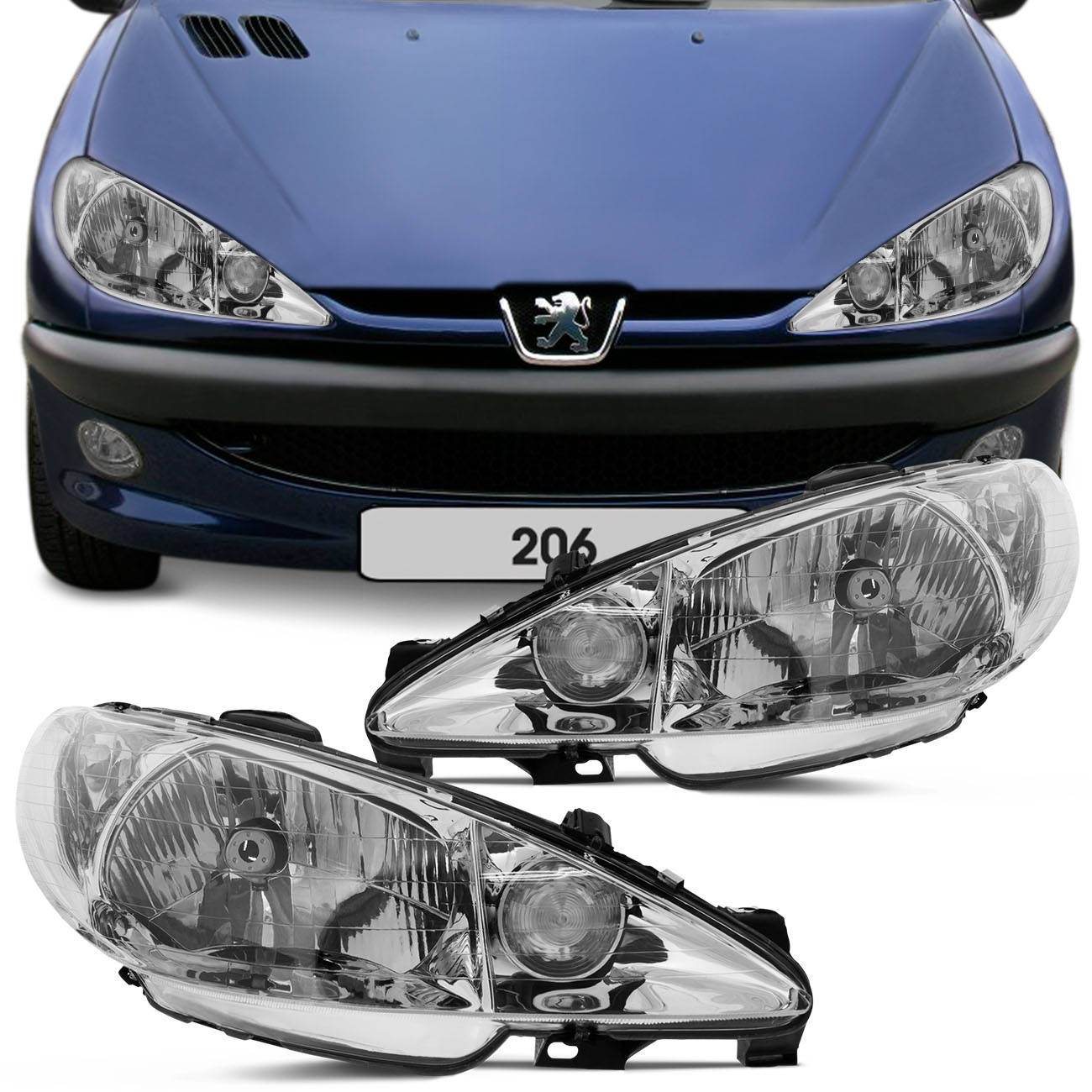 Farol Peugeot 206 e 206 SW 99 a 09 Foco Simples Lado Direito Passageiro