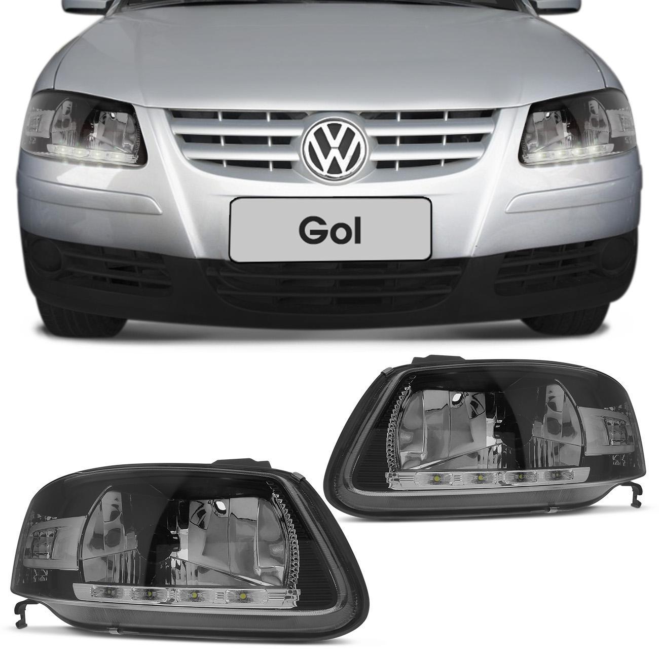 Farol Gol Parati Saveiro G4 06 a 14 Foco Simples Máscara Negra LED Lado Esquerdo Motorista