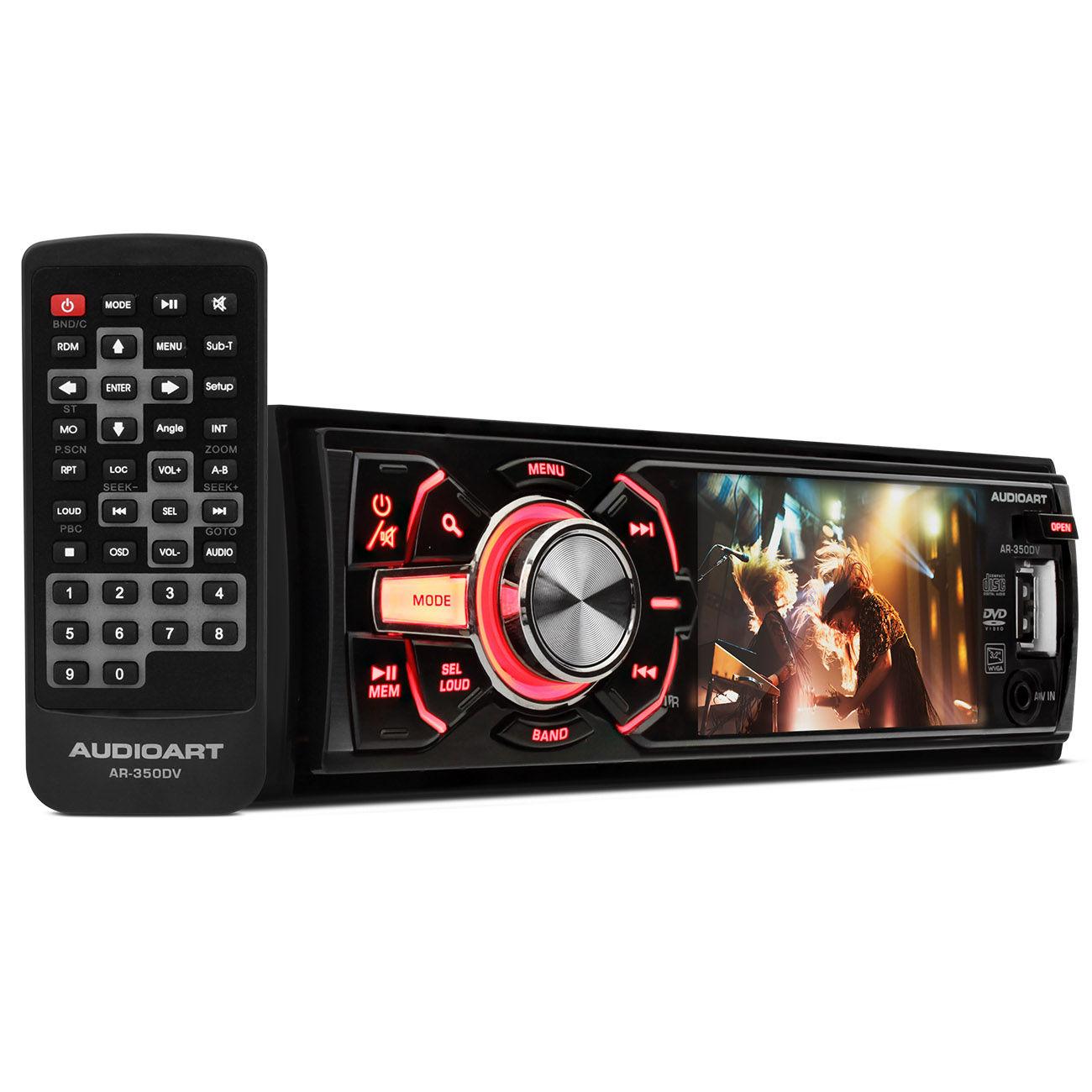 DVD Player AudioArt 3,2 Polegadas 1 DIN USB SD Auxiliar AR - 350DV