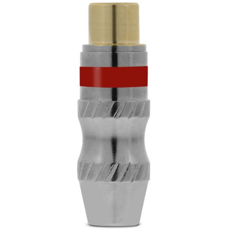 Plug RCA Santo Angelo Alta Pressão Fêmea Níquel Banhado a Ouro Vermelho