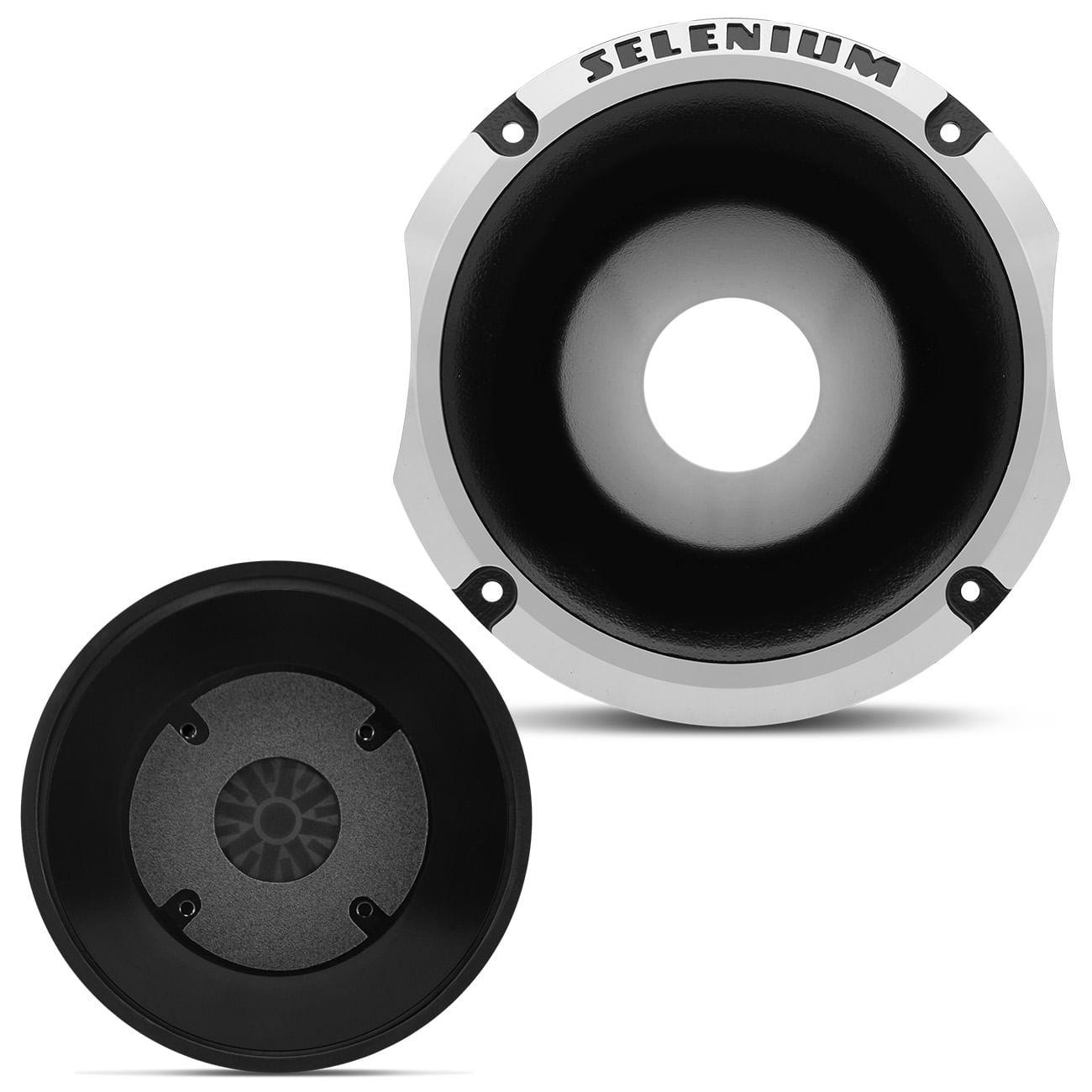 Kit 4 Drivers JBL Selenium D405 400W + 4 Cornetas Curtas Preto e Cromado
