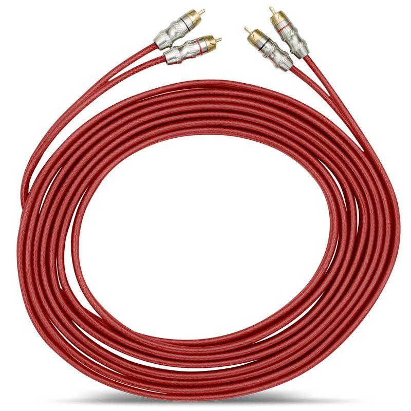 Cabo RCA Paralelo Stetsom 5 Metros 5mm² Vermelho Plug Banhado a Ouro