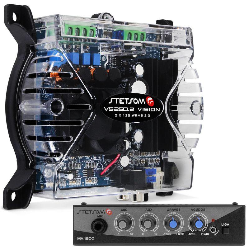 Módulo Amplificador Stetsom 250W RMS + Mixer Stetsom MA1200 Microfone