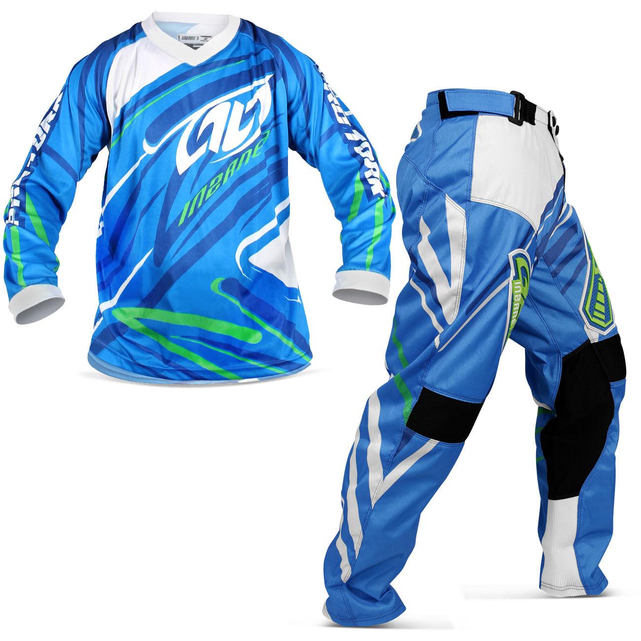 Kit Roupa Motocross Pro Tork Insane 3 Azul Camisa M Calça 38