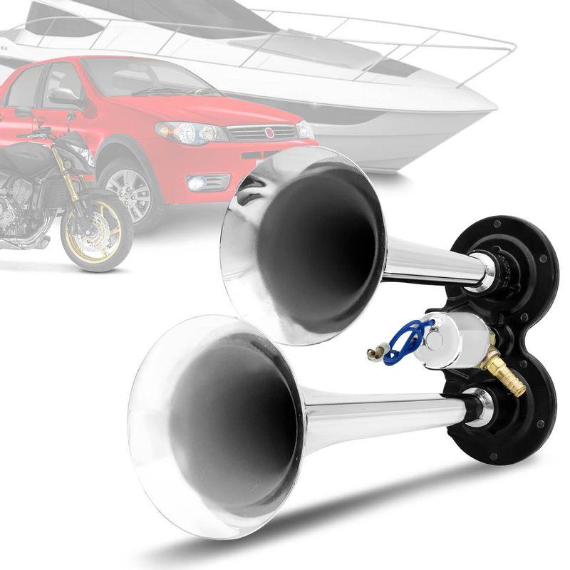 Par Buzinas Automotivas Eletropneumáticas Cornetas Cromadas 12V