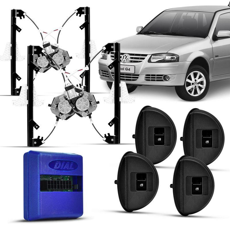 Kit Vidro Eletrico Sensorizado Gol Parati G4 4P Completo Grafite