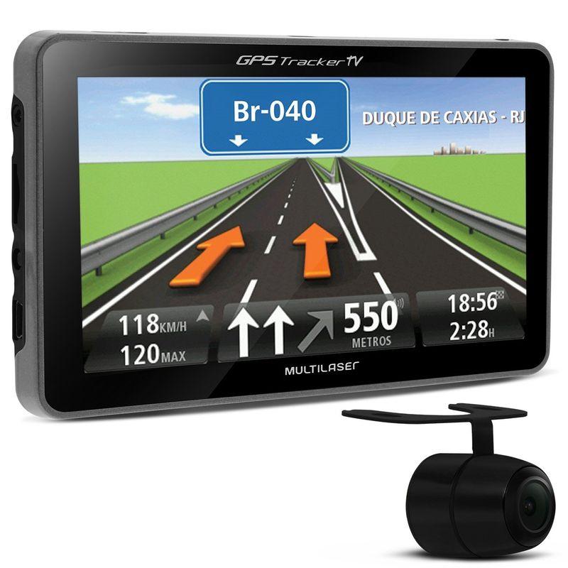 GPS Automotivo Multilaser Traker 4.3 Polegadas TV Digital USB SD Câmera Ré