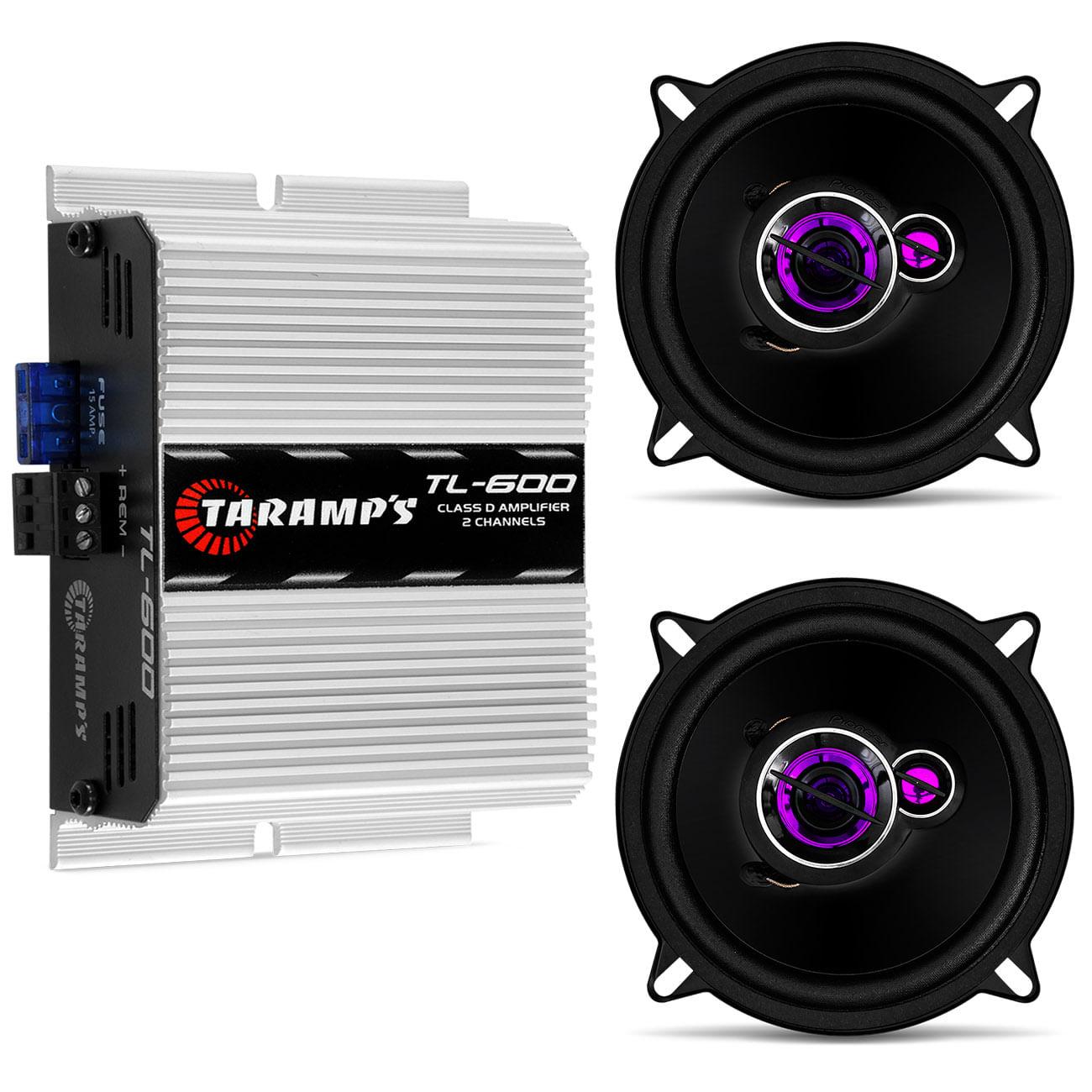 Kit Módulo Amplificador Taramps 170W + Par Alto Falante Pioneer 1 / 4 Polegadas 100W