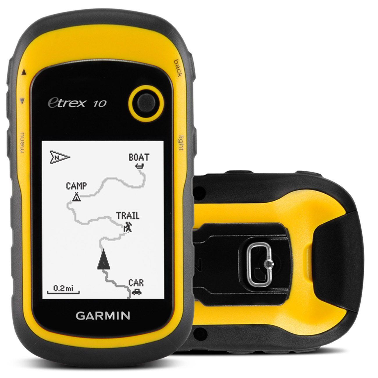 GPS Portátil Garmin 2.2 Polegadas GLONASS USB Trilha Aquático Amarelo eTrex 10