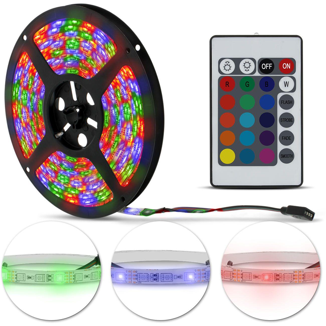 Fita LED Strip Bobina Rolo 5 metros 300 LEDs 12V 24W Colorida Carro Farol Decoração