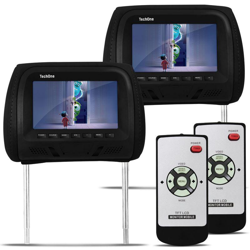 Par Encosto com Tela LCD de 7 Polegadas Preto com Controle Remoto