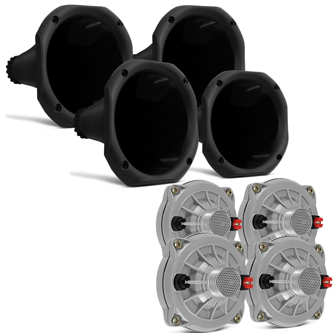 Kit 4 Drivers Selenium JBL D250X 100W 8 Ohms Fenólico Trio Elétrico + 4 Cornetas Curta