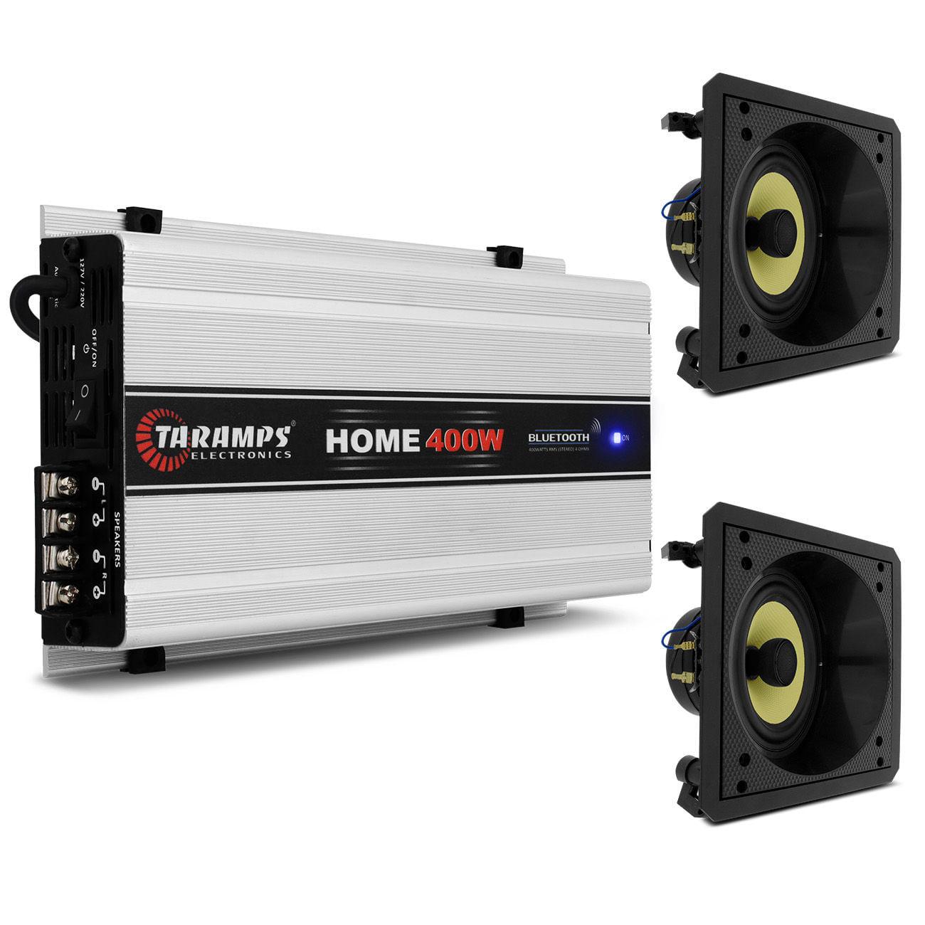 Kit Módulo Amplificador Taramps 400W + 2 Alto Falantes BSA SAX6 Tela Branca Spot Sound