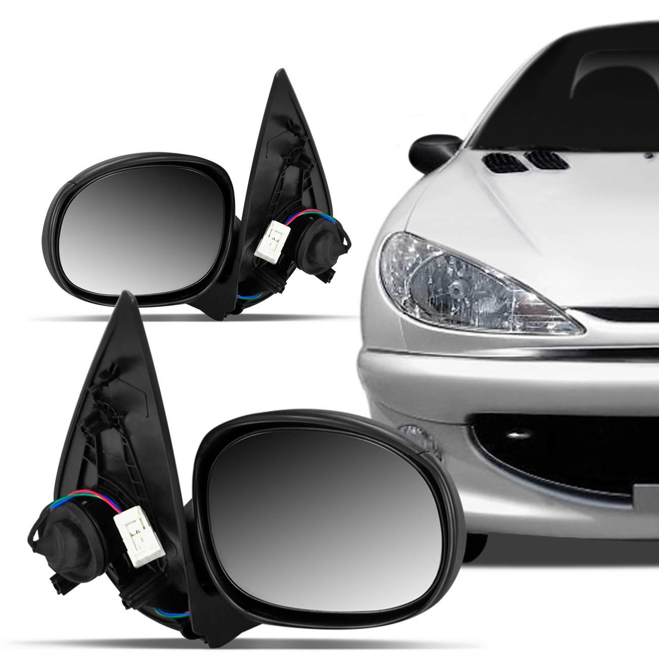 Retrovisor Peugeot 206 207 99 a 14 Preto Elétrico Lado Direito + Lado Esquerdo