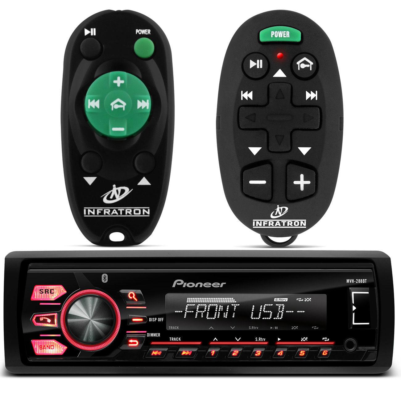 MP3 Player MVH - 288BT Pioneer 1 Din USB Android Bluetooth + Controles Longa Distância 200M