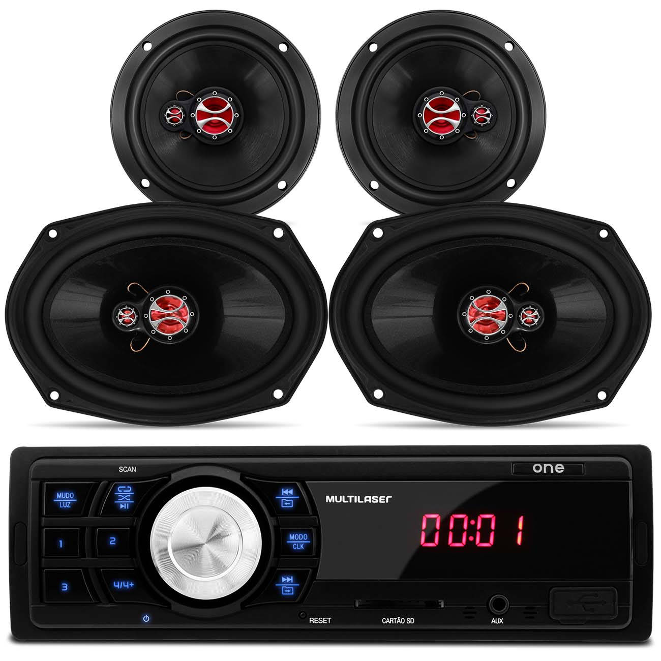 MP3 Player Multilaser One P3213 USB SD + Kit 4 Alto Falantes Traixial 4 Ohms 200W RMS