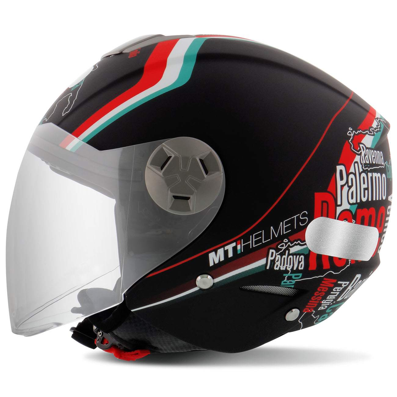 Capacete Aberto MT Helmets City Eleven Nuovo Italy Matt Black Fundo Preto Fosco Tamanho 58