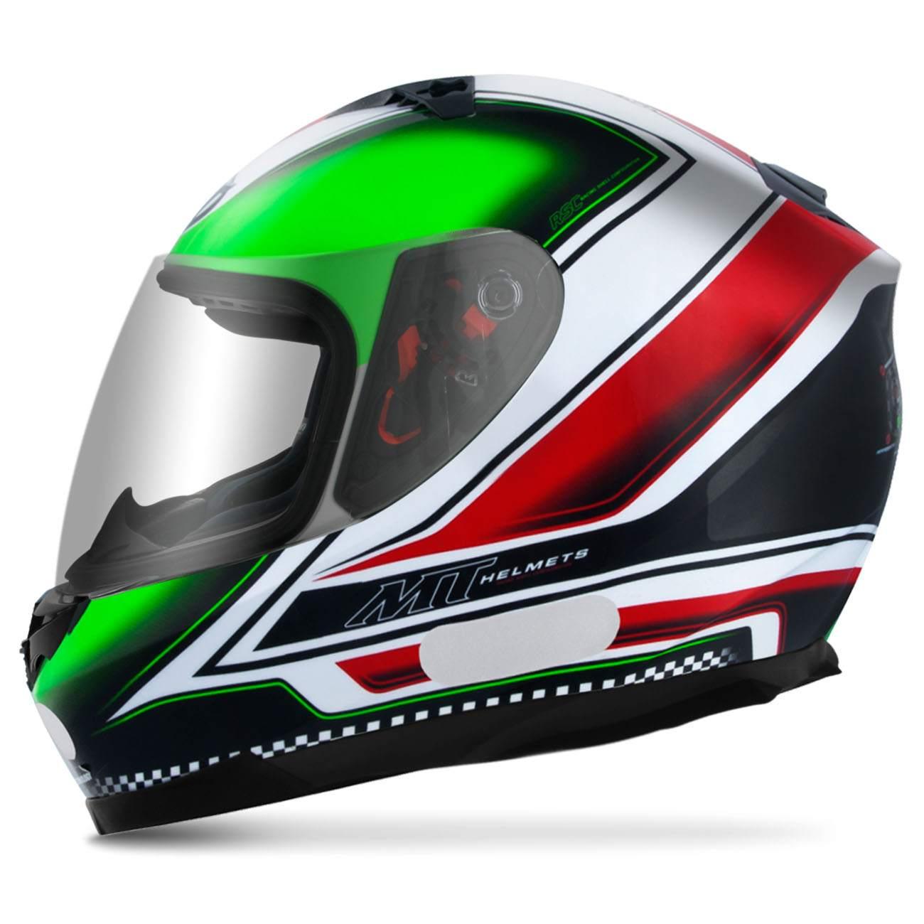Capacete Fechado MT Helmets Blade Mugello Black Green Red White Preto Tamanho 58