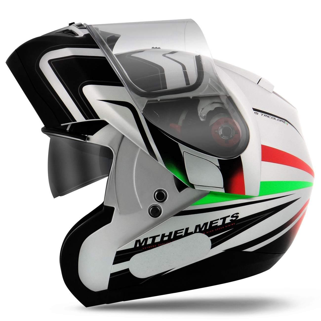 Capacete Escamoteável Óculos MT Helmets Optimus SV Tricolore White Green Red Branco Tamanho 60