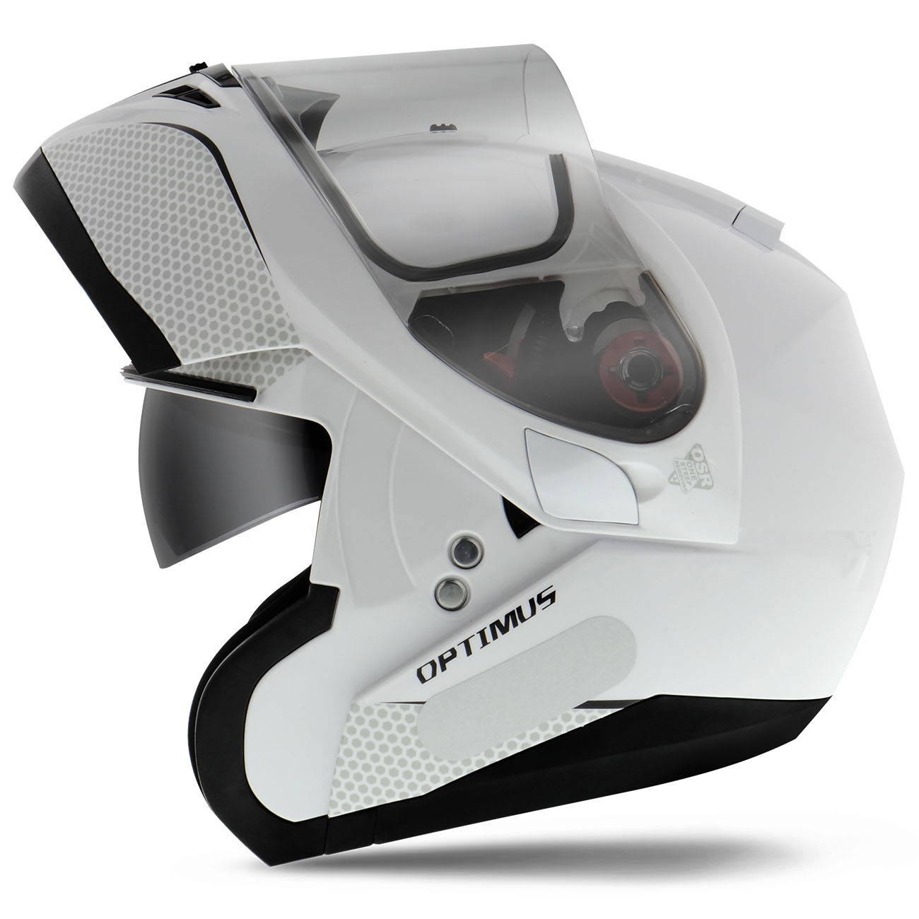 Capacete Escamoteável MT Helmets Optimus SV Mono Solid Gloss Pearl Branco Perolado Tamanho 58