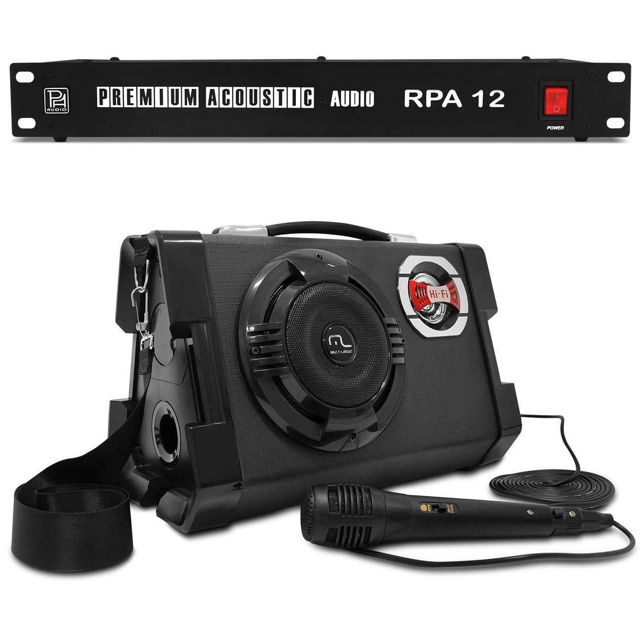 Caixa Som Portátil Multilaser 80W RMS USB Guitarra + Filtro Linha 12 Tomadas Tripolares