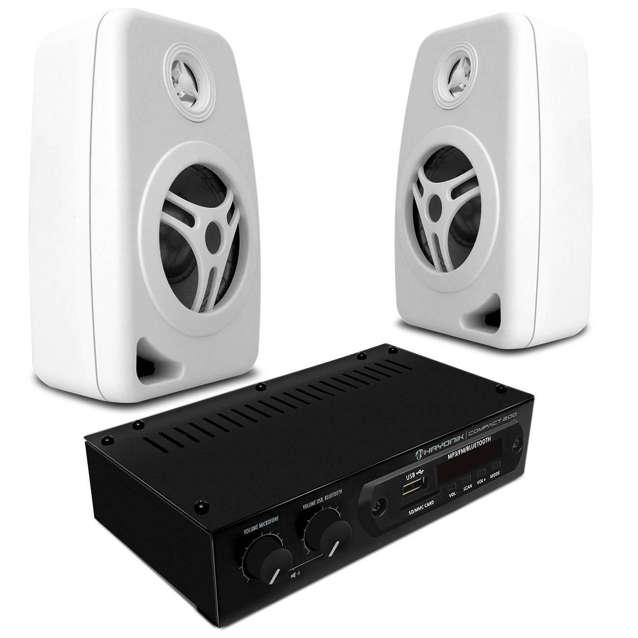 Par Caixas Som Ambiente Orion CXB40 55W RMS Branca + Amplificador Hayonik 20W RMS USB RCA