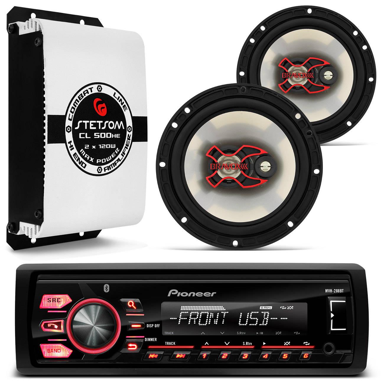 Kit MP3 Player Pioneer USB WMA + Par Alto Falantes 100W RMS + Módulo Amplificador 2 Canais
