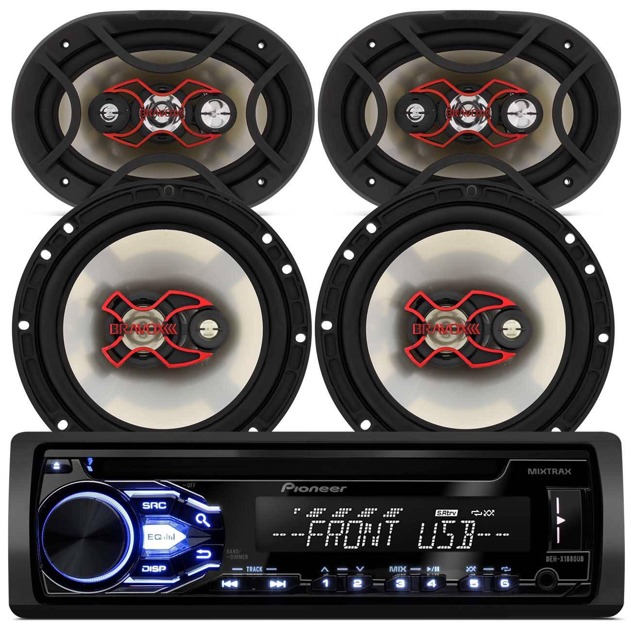 CD Player Pioneer DEH - X188OUB 1 Din USB MP3 + Par Alto Falante 6 e 6x9 Polegadas 240W RMS