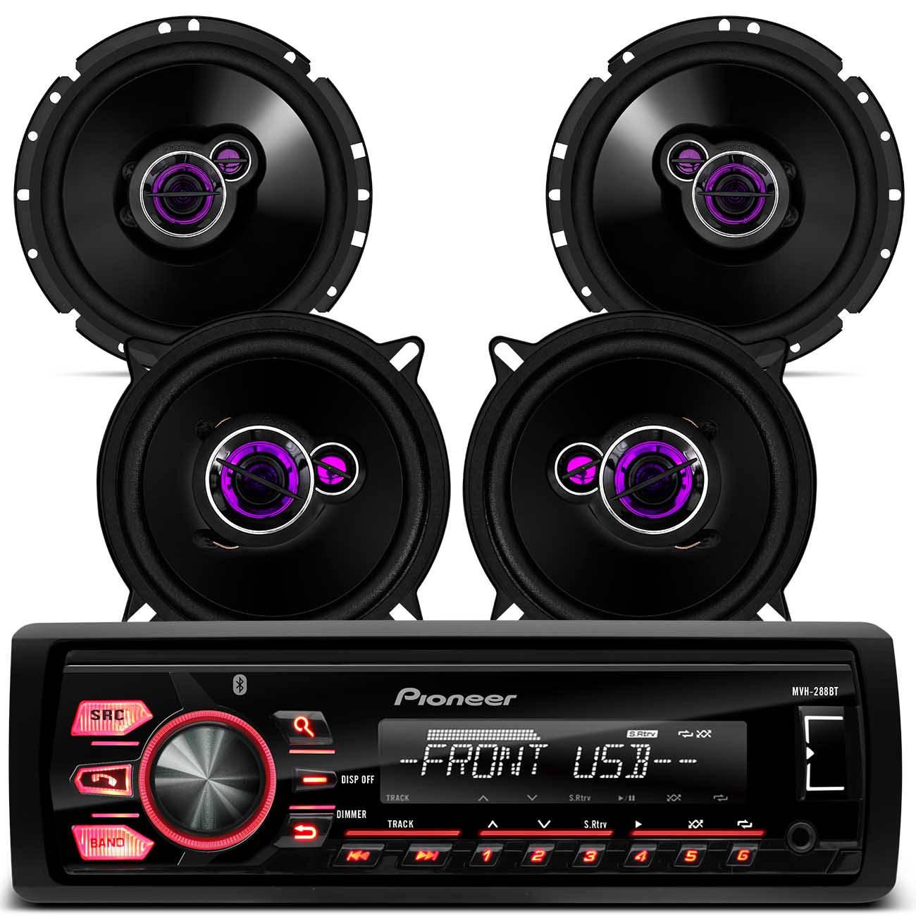MP3 Pioneer MVH - 288BT 1 Din Android Bluetooth + 2 Pares Alto Falante 5 1 / 4 6 Polegadas 200W