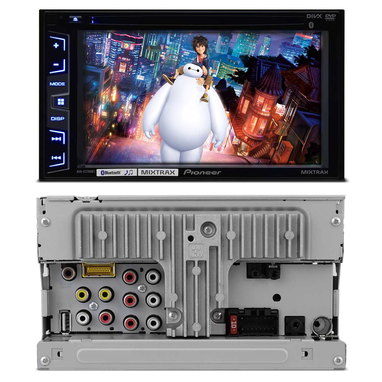 DVD Player Pioneer 2 Din Bluetooth + Par Telas Encosto 7 Polegadas Grafite Escravo