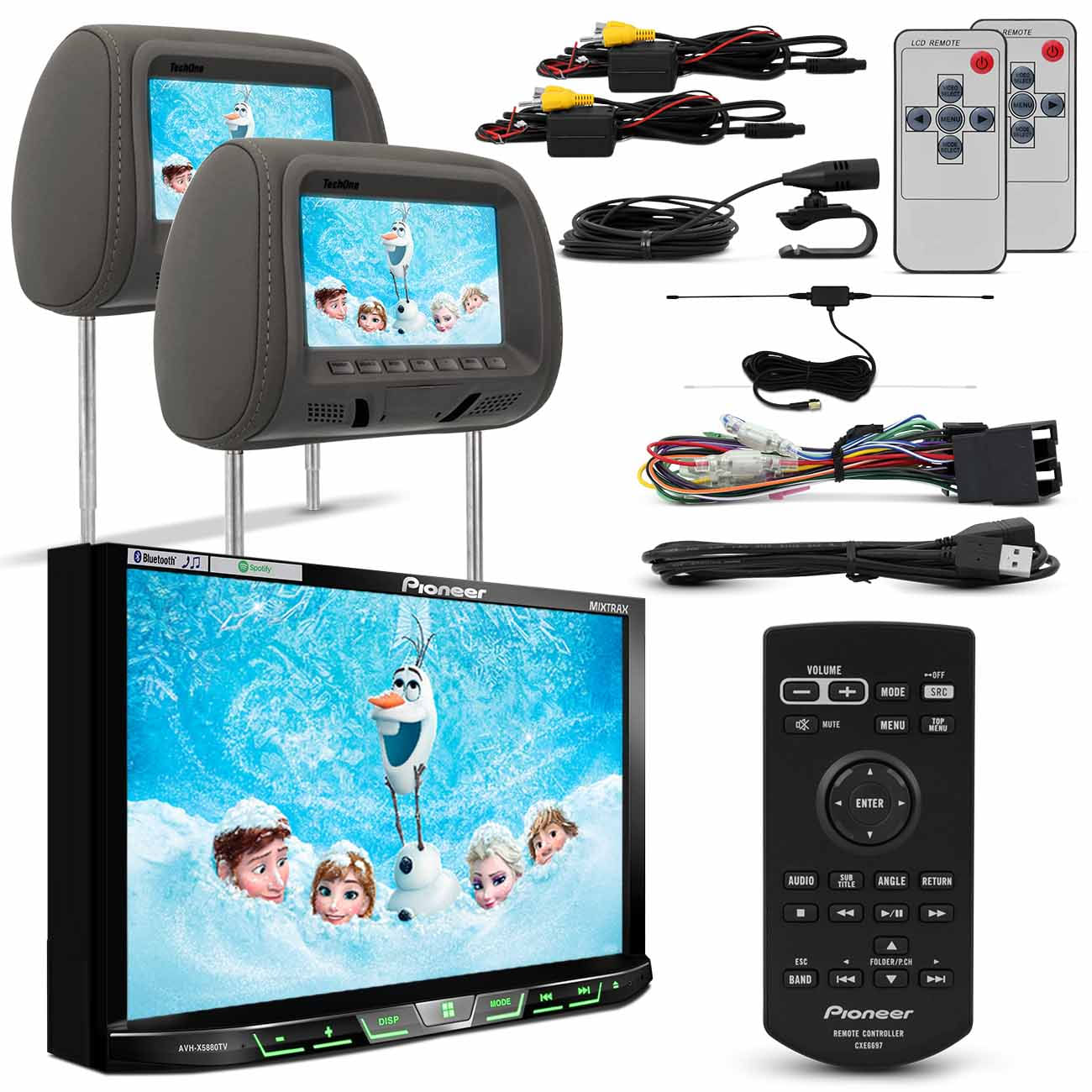 DVD Pioneer AVH - X5880TV 7 Polegadas Iphone Android Spotify + Par Telas Encosto Cinza