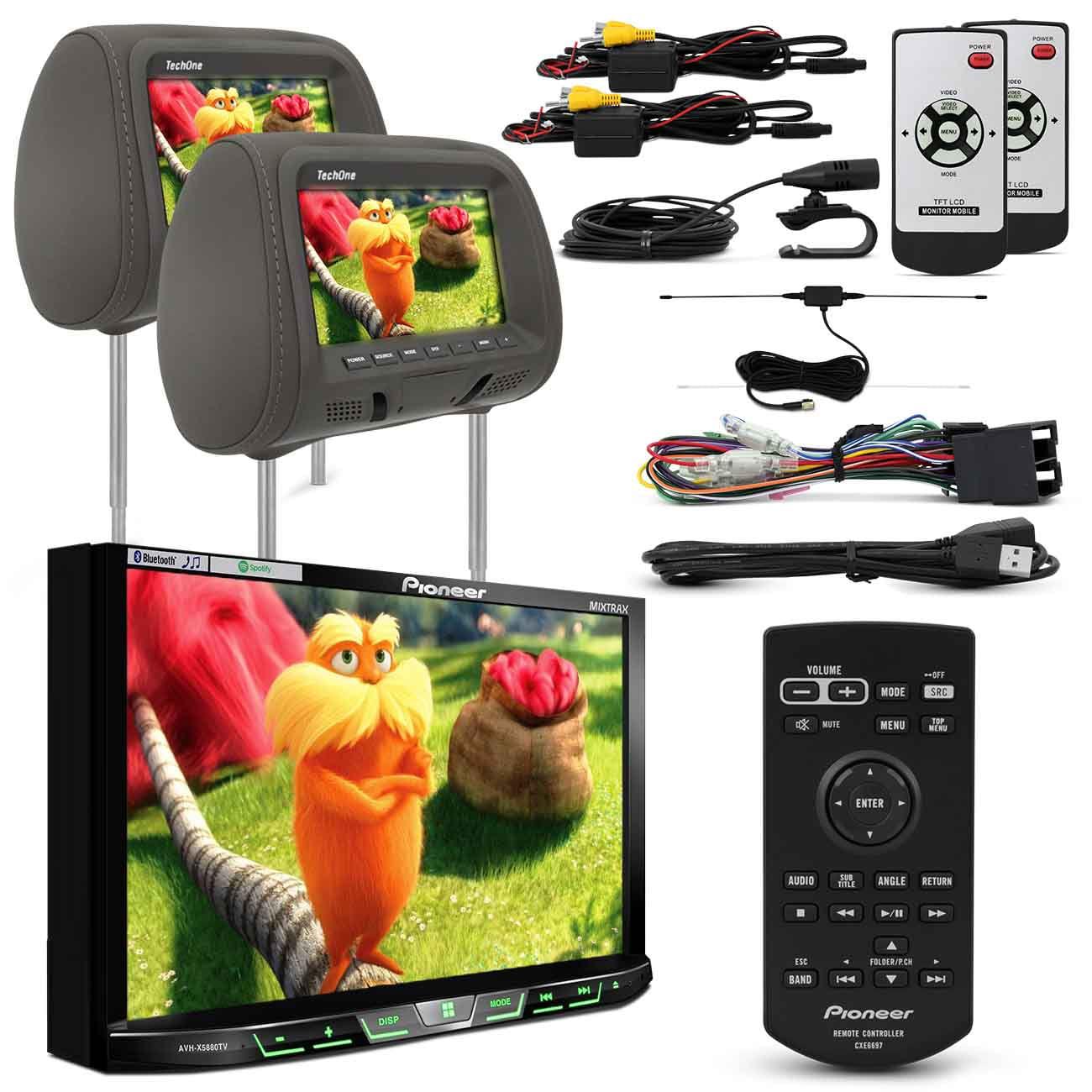 DVD Player Pioneer 2 Din Bluetooth + Par Telas Encosto LCD 7 Polegadas Grafite Escravo