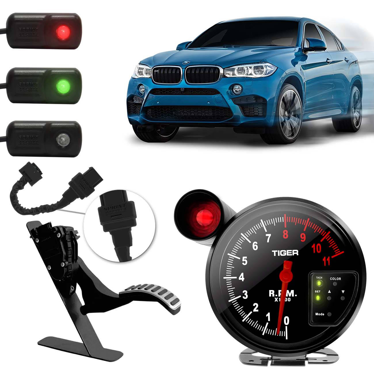 Sprint Booster BMW X3 X4 X5 00 a 16 + Conta Giros Tuning LED 7 Cores Shift Light Vermelho