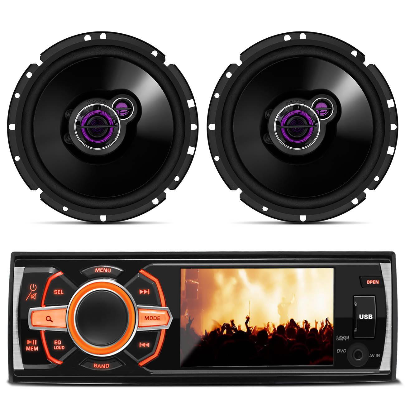 DVD Player Hurricane HRD - 3560 3,4 Polegadas + Par de Alto Falantes Pioneer TS - 1731BR 100W