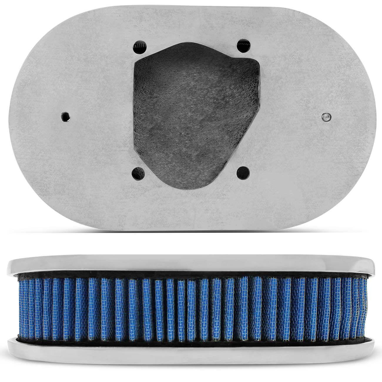 Kit Filtro Ar Esportivo Race Chrome Oval + Base Carburador CHT 460 Azul e Cromado