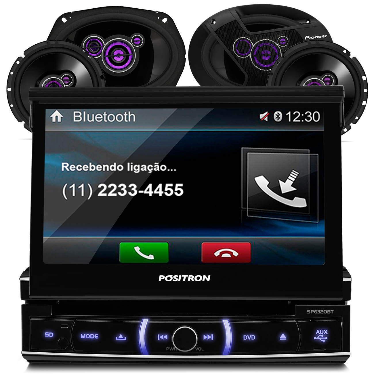 DVD Player Pósitron 7 Pol USB SD Bluetooth SP6320BT + 4 Alto Falantes Pioneer 6x9 6 Polegadas 300W