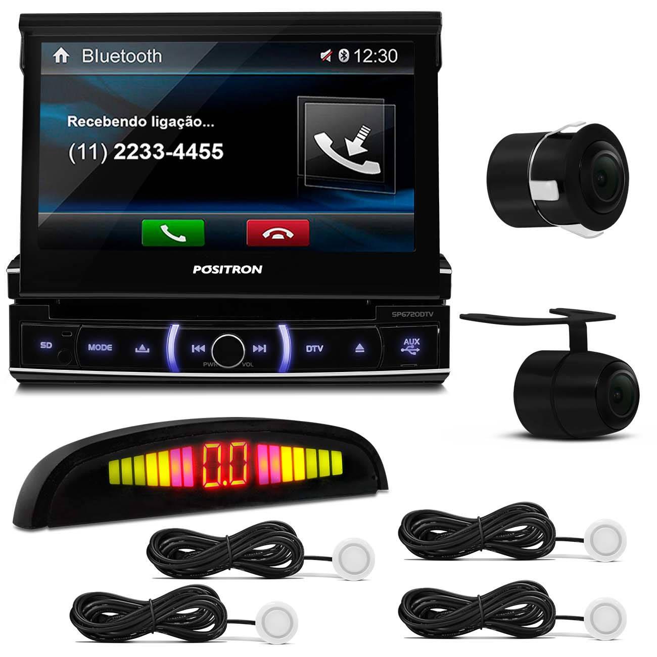 DVD Player Pósitron Bluetooth USB + Câmera Ré Universal + Sensor Estacionamento Branco