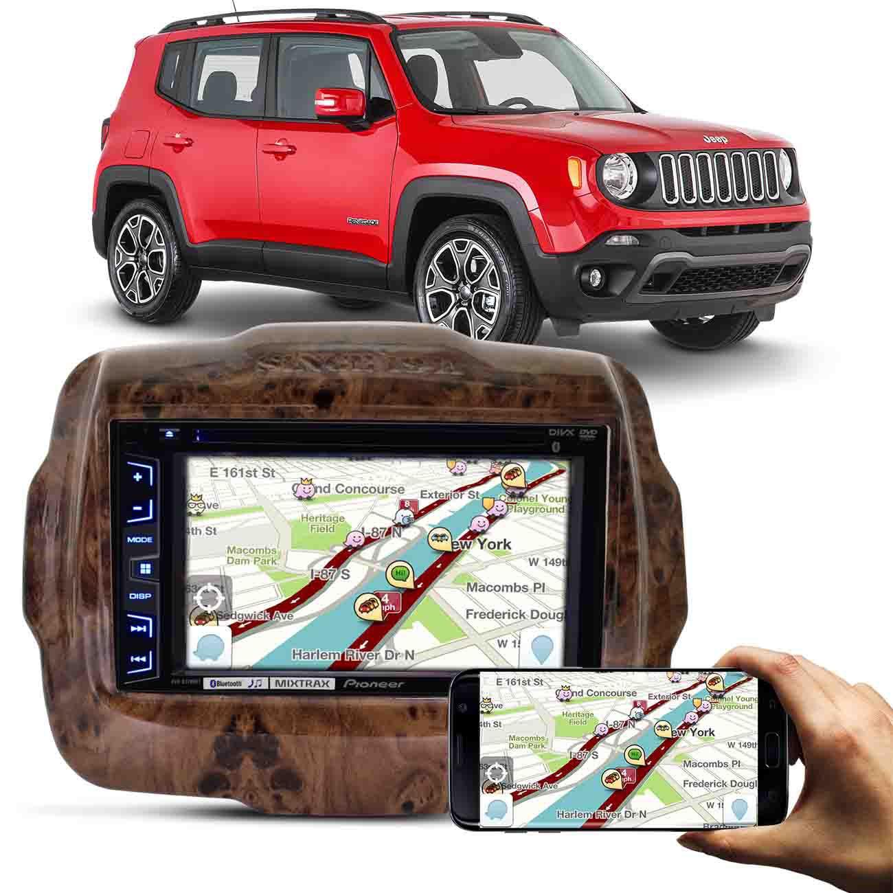 Moldura Jeep Renegade 15 a 17 madeira + DVD Pioneer 2 Din USB