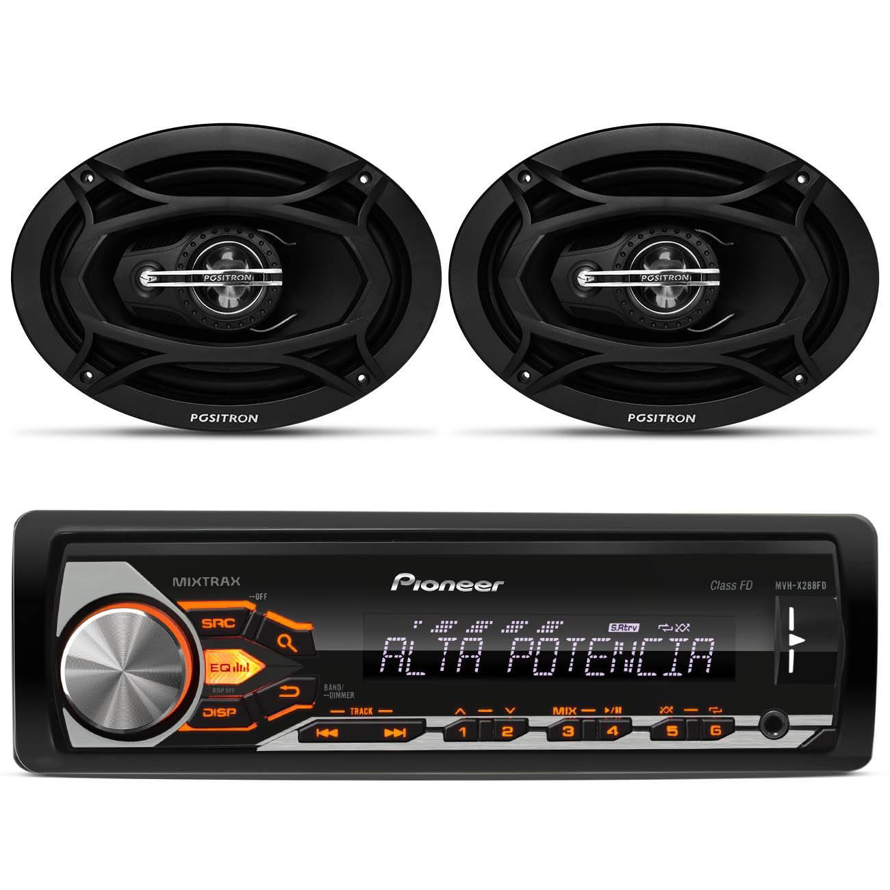 MP3 Player Pioneer MVH - X288FD USB WMA 1 Din + Par Alto Falante Positron 6x9 Polegadas 160W RMS