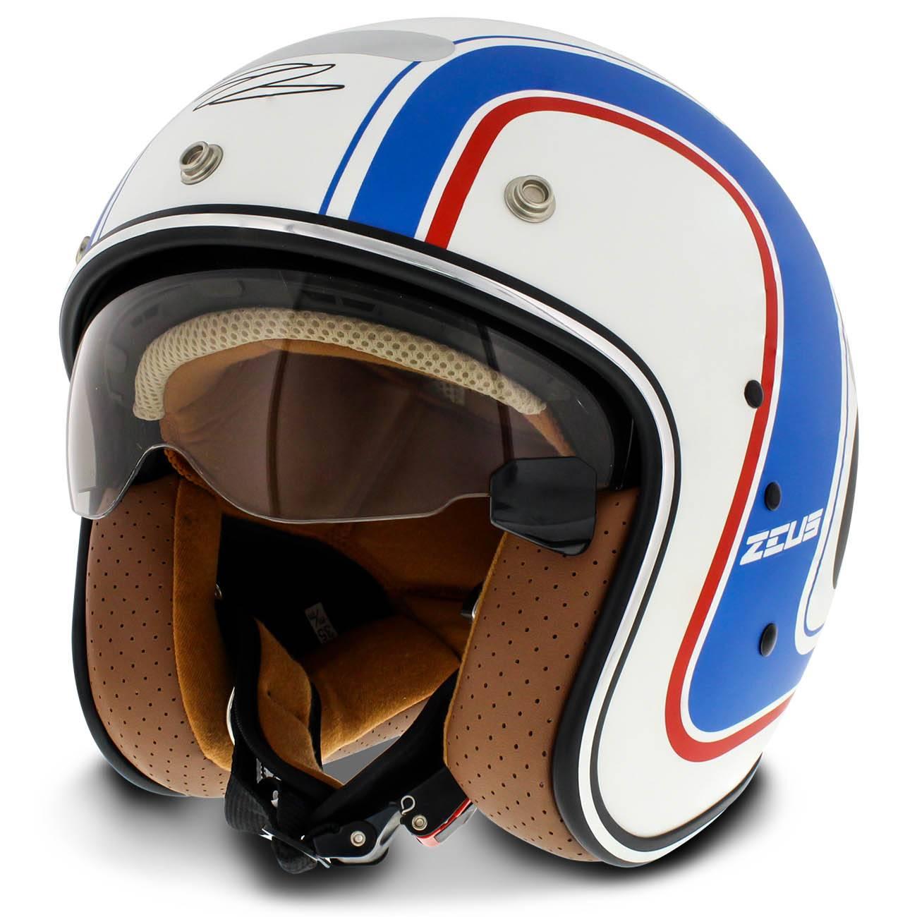 Capacete Aberto Zeus 380Fa Daytona Matt White K36 Blue Branco Fosco Azul Tamanho 56