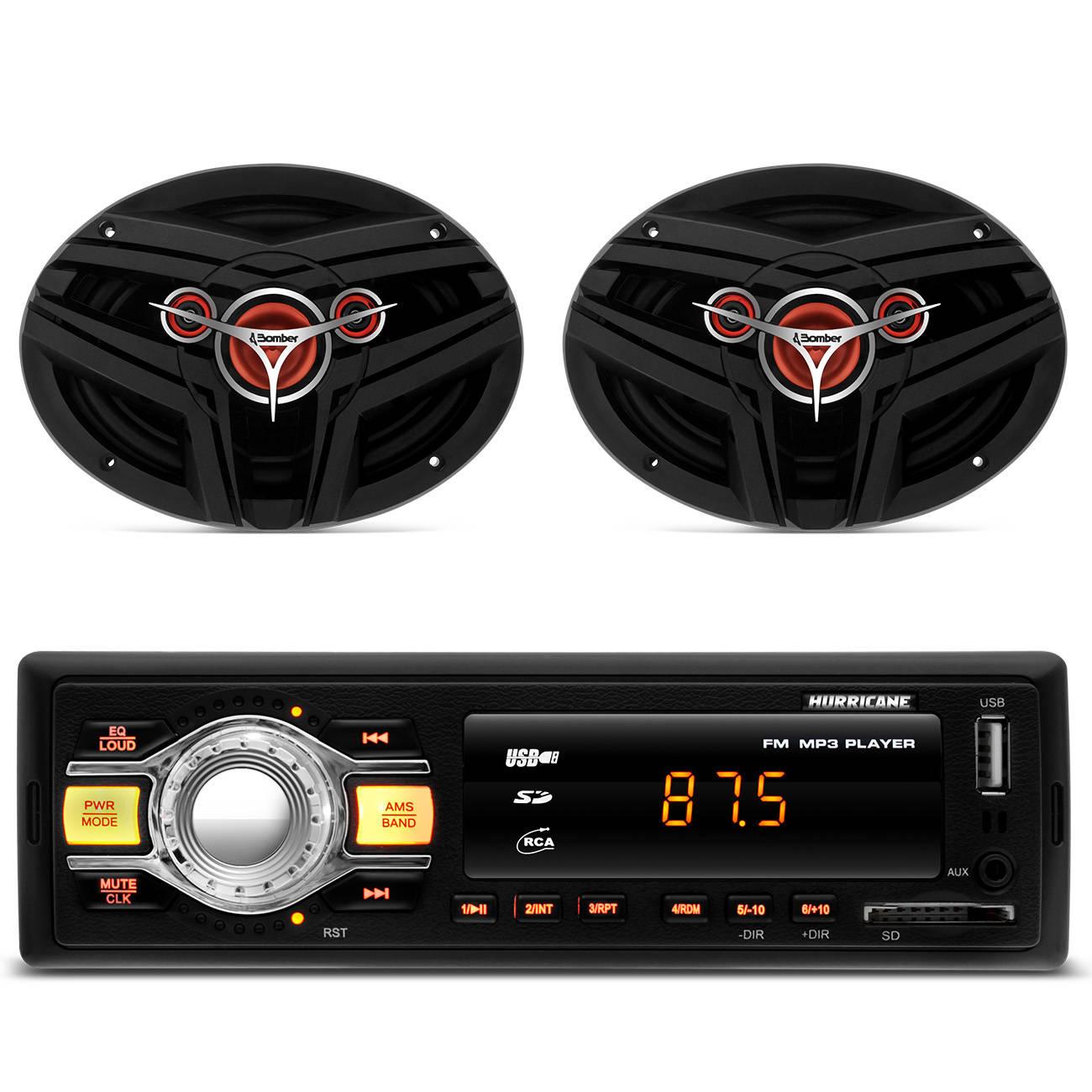 MP3 Player Hurricane HR - 412 USB SD AUX + Par Alto Falantes 6x9 Quadriaxial Bomber 200 RMS Grade