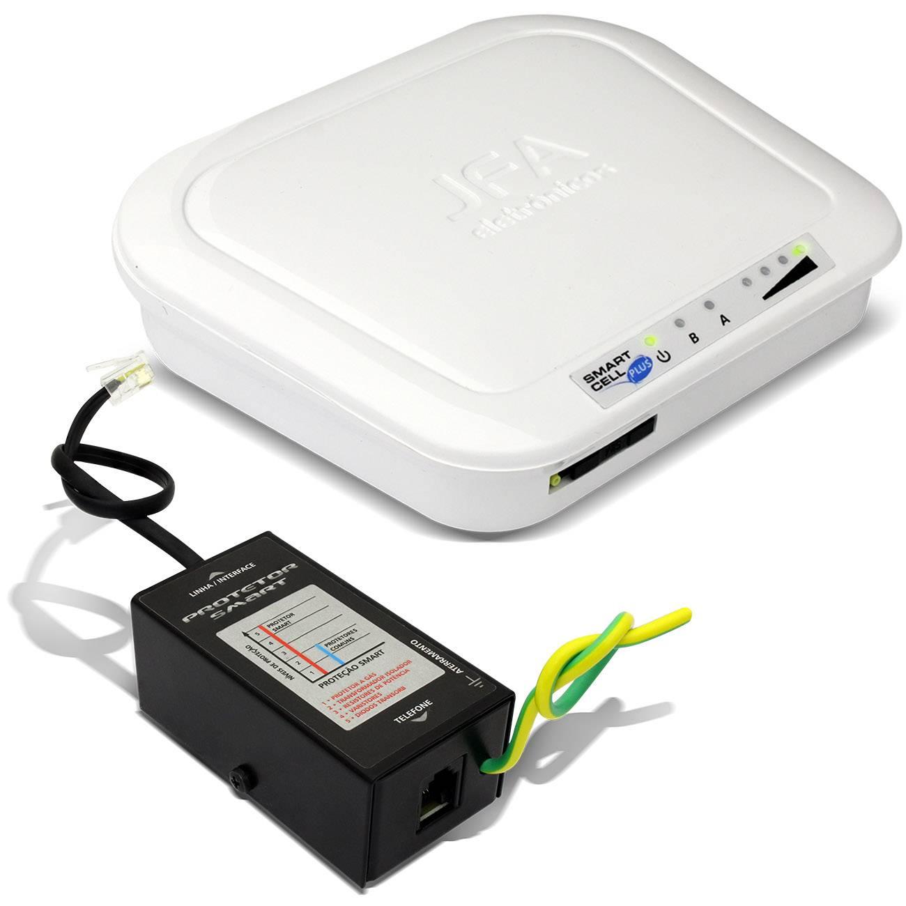 Interface Rural JFA Smart Cell Plus Telefone Celular Fixo PABX Modulo GSM Com Protetor de Linha