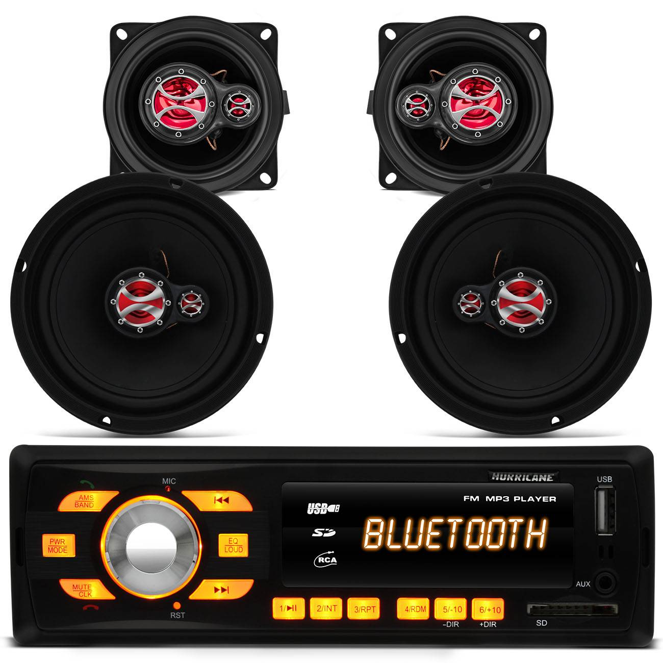 MP3 Player HR 414 Bluetooth USB + Kit Alto Falante Foxer 6 e 4 Polegadas 200 RMS Palio e Weekend G1