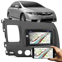 Central Multímidia Evolve+ Multilaser 2 Din Touch Espelhamento Celular + Moldura New Civic 07 11