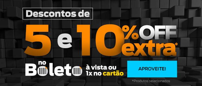 DESCONTO DE 5% e 10% EXTRA NO BOLETO À VISTA OU 1X NO CARTÃO